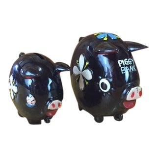Hand Painted Tilso Piggy Banks - A Pair