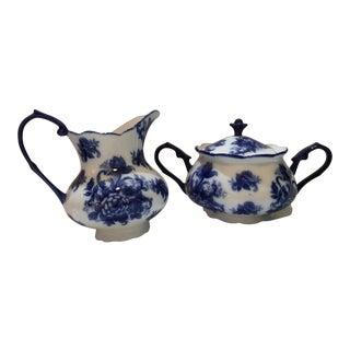 Blue & White Porcelain Creamer & Sugar Bow - A Pair