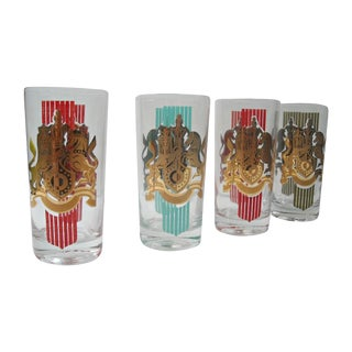 Mid-Century Fred Press Royal Crest Glass Tumblers