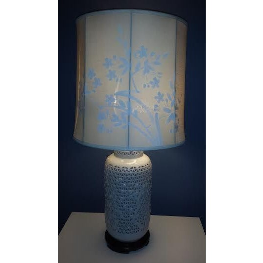 Reticulated Blanc de Chine Lamps - A Pair - Image 6 of 6