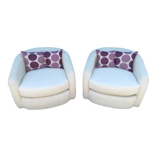 Oatmeal Tone on Tone Barrel Back Swivel Chairs - A Pair