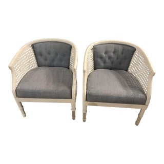 White Caned Chairs - A Pair