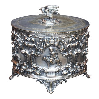 19th Century Oval Silver Plate Repousse Lidded Box