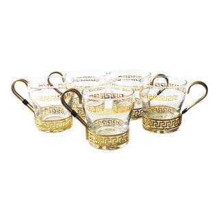 Vintage Greek Key Glasses - Set of 5