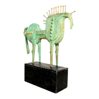 Surrealist Faux Bronze Horse Sculpture