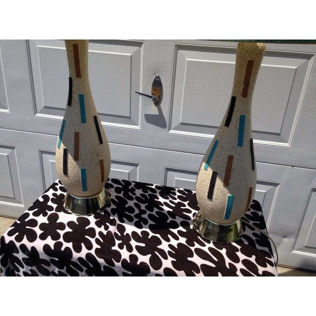 Image of Mid-Century Modern Pottery Lamps - A Pair