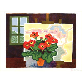 Guy Charon, Geraniums-1978 Lithograph, Signed