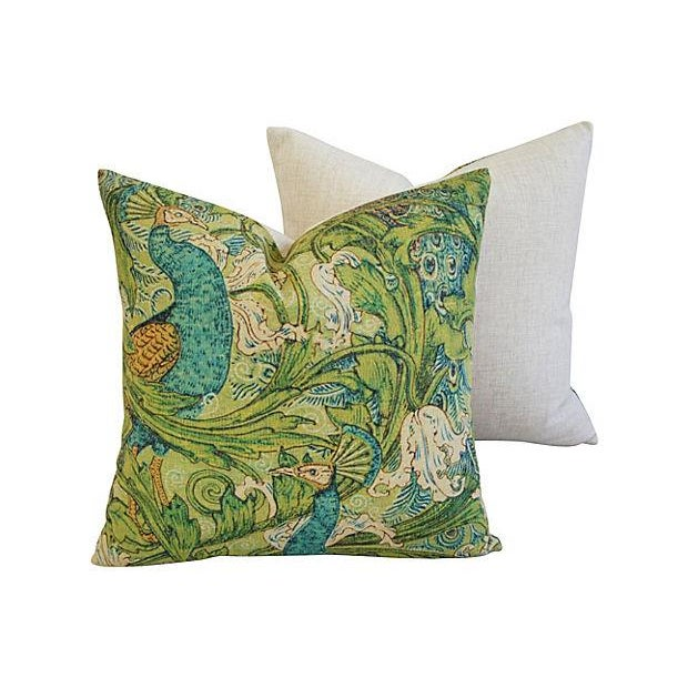 Lush Floral & Peacock Linen Pillows- A Pair - Image 7 of 8