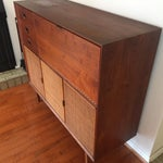 Image of Founders Style Mid-Century Walnut & Cane Bar Server