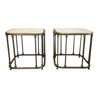 Vintage Brass & Marble Top End Tables - A Pair