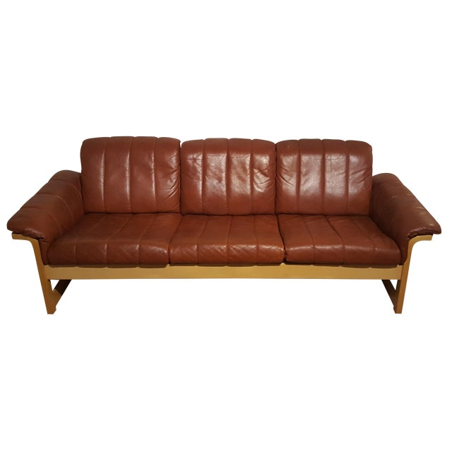 Red-Brown Leather Midcentury Modern Sofa - Image 1 of 11