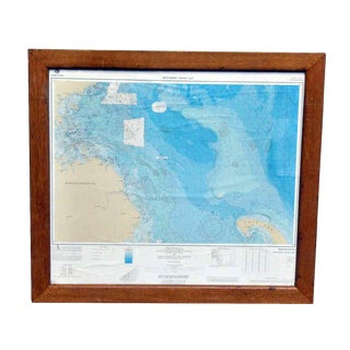 Bathymetric Framed Massachusetts Fishing Map