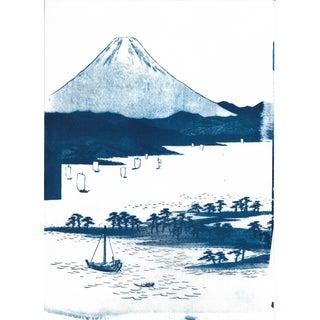 Japanese Mt. Fuji Landscape Cyanotype Print