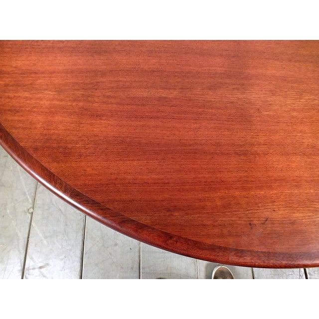 Mid-Century Round Dining Table Wood Top Steel Legs