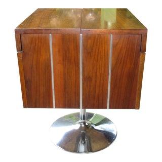 1978 Vintage Lane Danish Modern Style Mid Century Walnut Pedestal Swivel Bar