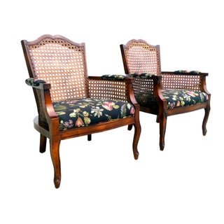 Fruit & Floral Cane Back Arm Chairs - Pair