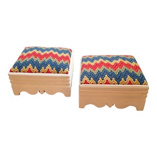 White Victorian Needlepoint Footstools - A Pair