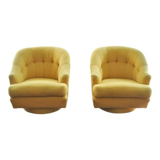 Milo Baughman Yellow Swivel Chairs by Directional.