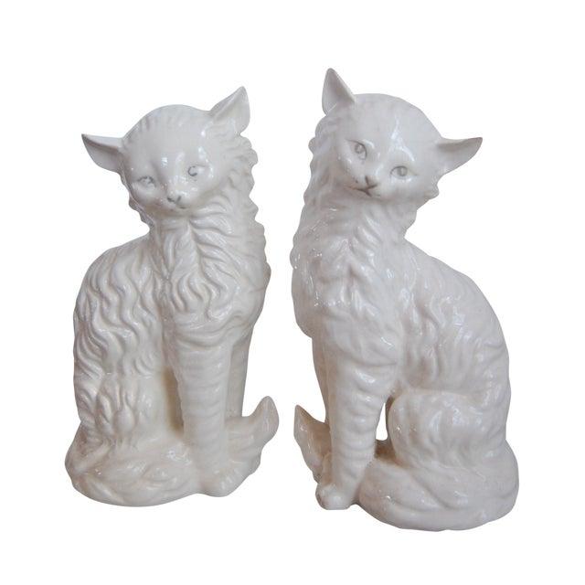 Vintage White Porcelain Cats - A Pair - Image 1 of 8