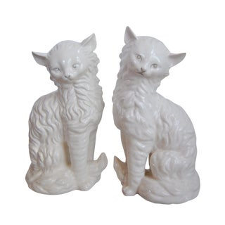 Vintage White Porcelain Cats - A Pair