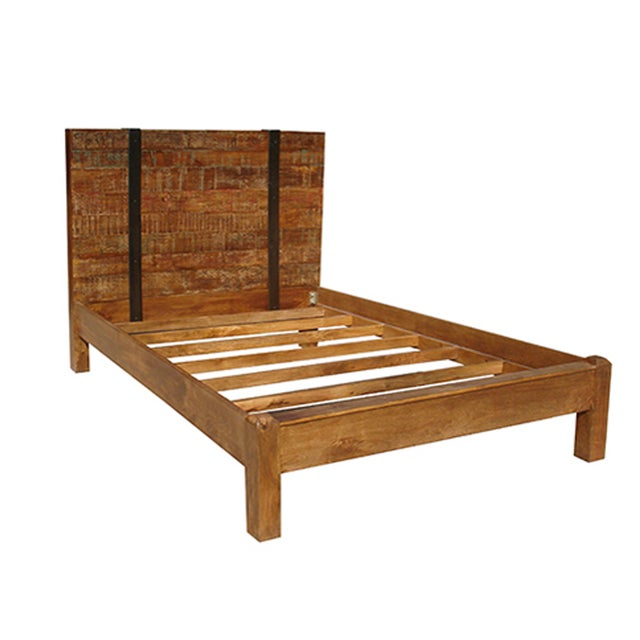 Reclaimed wood queen bed frame chairish for Buy reclaimed wood los angeles