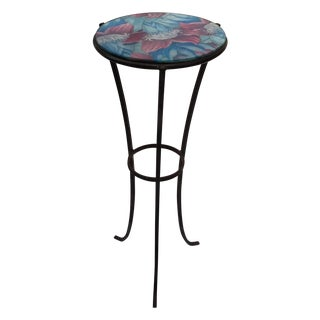 Round Glass Top Metal Accent Table