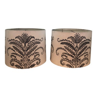 Hand Sketched Barrel Lampshades - a Pair