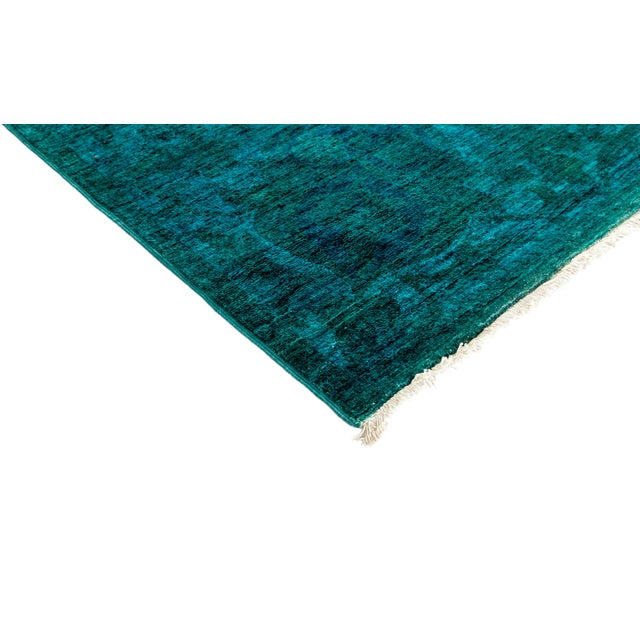 "New Hand-Knotted Turquoise Overdyed Rug - 9'10"" X 13'4"" - Image 2 of 3"