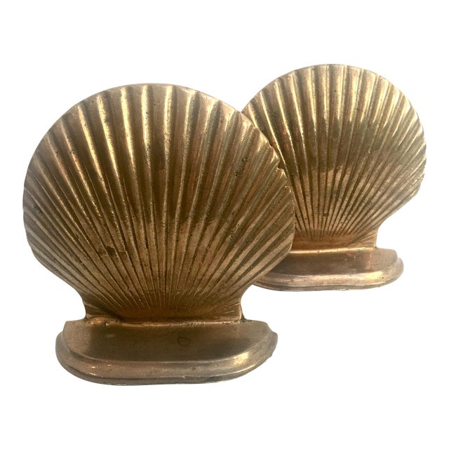 Brass Shell Bookends - Pair - Image 1 of 6
