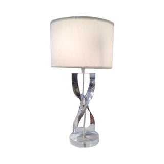 Vintage Modern Lucite Twist Table Lamp