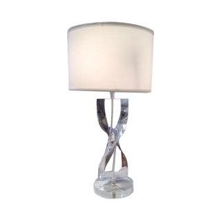 Vintage Modern Lucite Twist Table Lamp