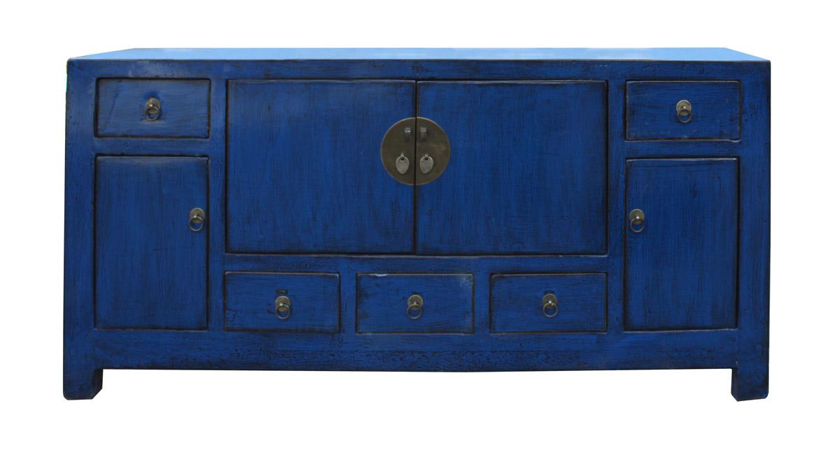 Chinese Indigo Blue Low TV Console Table Cabinet   Image 2 Of 7