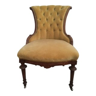 Antique Victorian Yellow Gold Velvet Parlor Chair