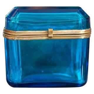 Bohemian Deep Blue Glass Dresser Box