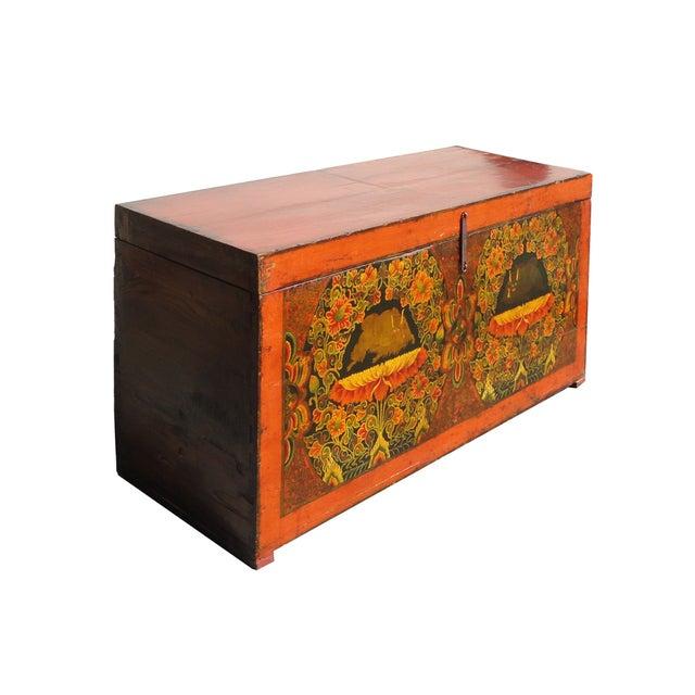 Image of Antique Tibetan Elm Wood Graphic Storage Trunk