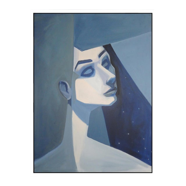 """Blue Girl"" Abstract Framed Giclée Print - Image 1 of 3"