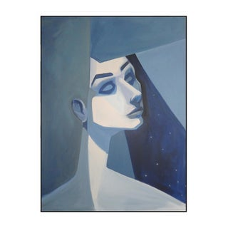 """Blue Girl"" Abstract Framed Giclée Print"