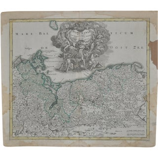 18th Century Hand Colored Map C.1718