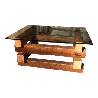 4 x 4 Wood Base Coffee Table