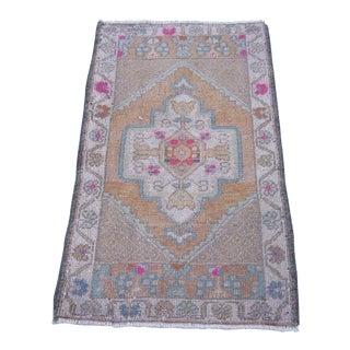 """Turkish Brown Wool Pile Small Vintage Rug - 1'11"""" x 3'3"""""""