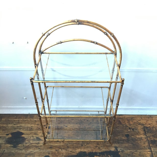 Gold Faux Bamboo Three Tiered Shelf - Image 4 of 7