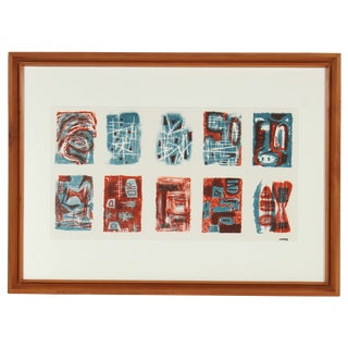 Mid Century Blue & Rust Lithograph