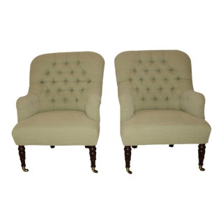 Upholstered Fern Green Tufted Chairs - A Pair