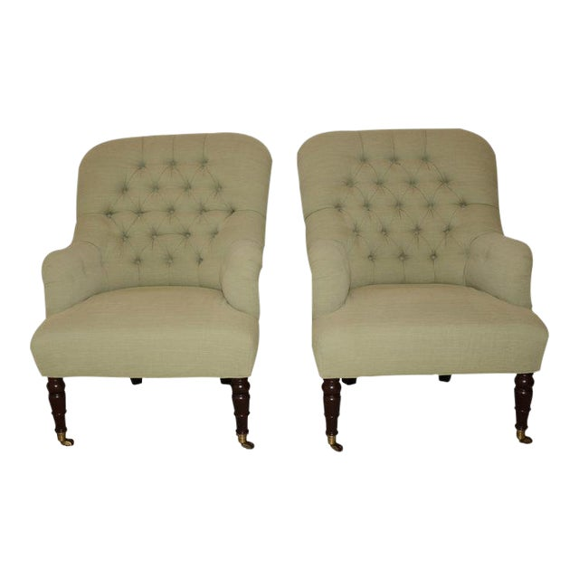 Image of Upholstered Fern Green Tufted Chairs - A Pair