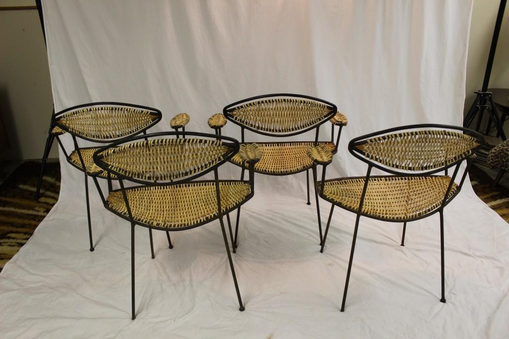 Mid Century Modern Patio Chairs Set of 4