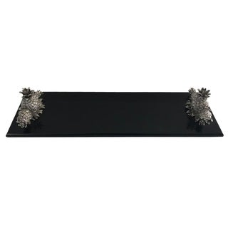 Black Stone Tray with Silver Pineapple Detail