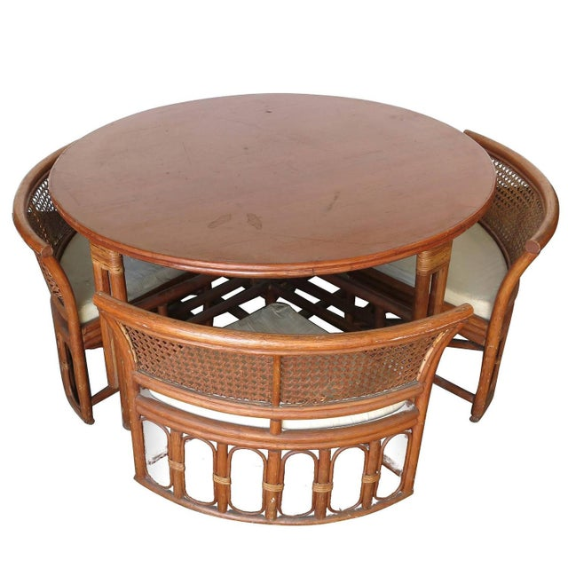 Rattan & Wicker Dining Table & Four Hidden Chairs - Image 1 of 10