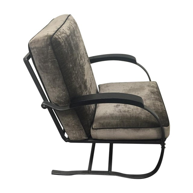 Image of Crushed Velvet Steel Rocking Chair