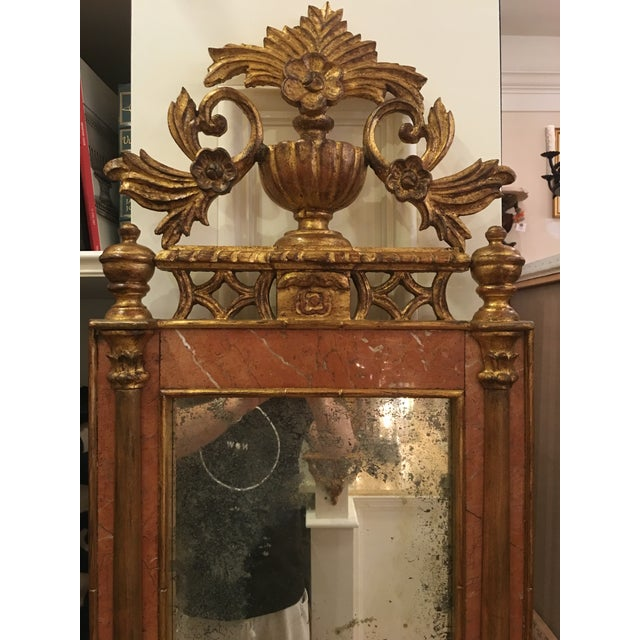 Antique Italian Sienna Marble & Giltwood Mirror - Image 3 of 4