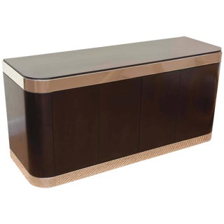 Pace Stainless Steel And Ebonized Cabinet/Credenza